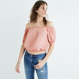 NWOT MADEWELL Off The Shoulder Bubble Top Pink